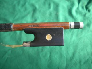 Old/antique Violin Bow Schicker Brand Silver Mounted Frog Octagon C.  1890 - 1930 photo