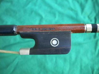 Old German Violin/viola Bow Branded R.  F Hoyer Germany Silver Mount Frog 1920 - 50 photo