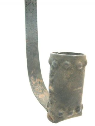 Vintage / Antique Decorated Iron Candle Holder,  Engraving photo