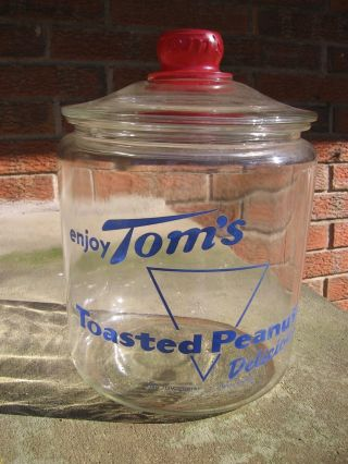 Antique General Store Container,  Toms Toasted Peanuts Glass Jar W/ Lid photo