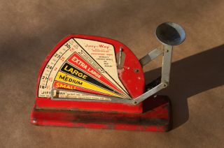 Vtg Jiffy Way Red Metal Egg Grading Scale/sizer/sorter Poultry Farm Owatonna Mn photo