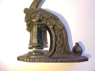 1850s Antique Cast Iron Sea Monster Head Seal Press By Evens Cincinnati Vg+ photo