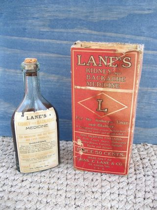 Chas.  E.  Lane Kidney Backache Medicine,  Bottle Contents,  Box Carton,  St Louis Mo photo