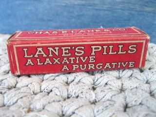 Chas.  E.  Lane Laxative Pills Medicine,  Bottle Contents,  Box Carton,  St Louis Mo photo