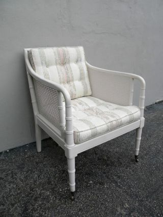 Mid - Century Hollywood Regencry Caned Tufted Side Chair 2740 photo
