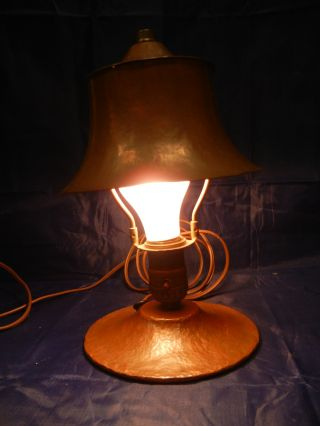 Vintage Lighting 1920s Arts Crafts Misson Hand Wrought Copper Lamp Light. photo