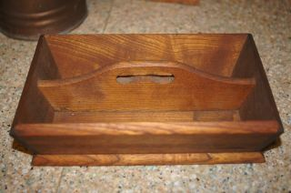 Vintage Antique Small Miniature Cutlery Knife Box Tray Walnut Primitive Tote photo