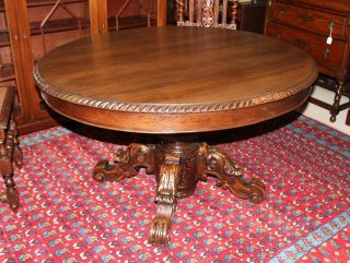 Exquisite Antique Henry Ii Dining Table.  Made From Solid Oak. photo