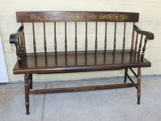 Lovely Painted English Antique Bench.  Made From Oak. photo