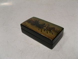 Old Russian Small Lacquer Box For Post Marks Veshnjakov Or Lukutin 19th Century photo