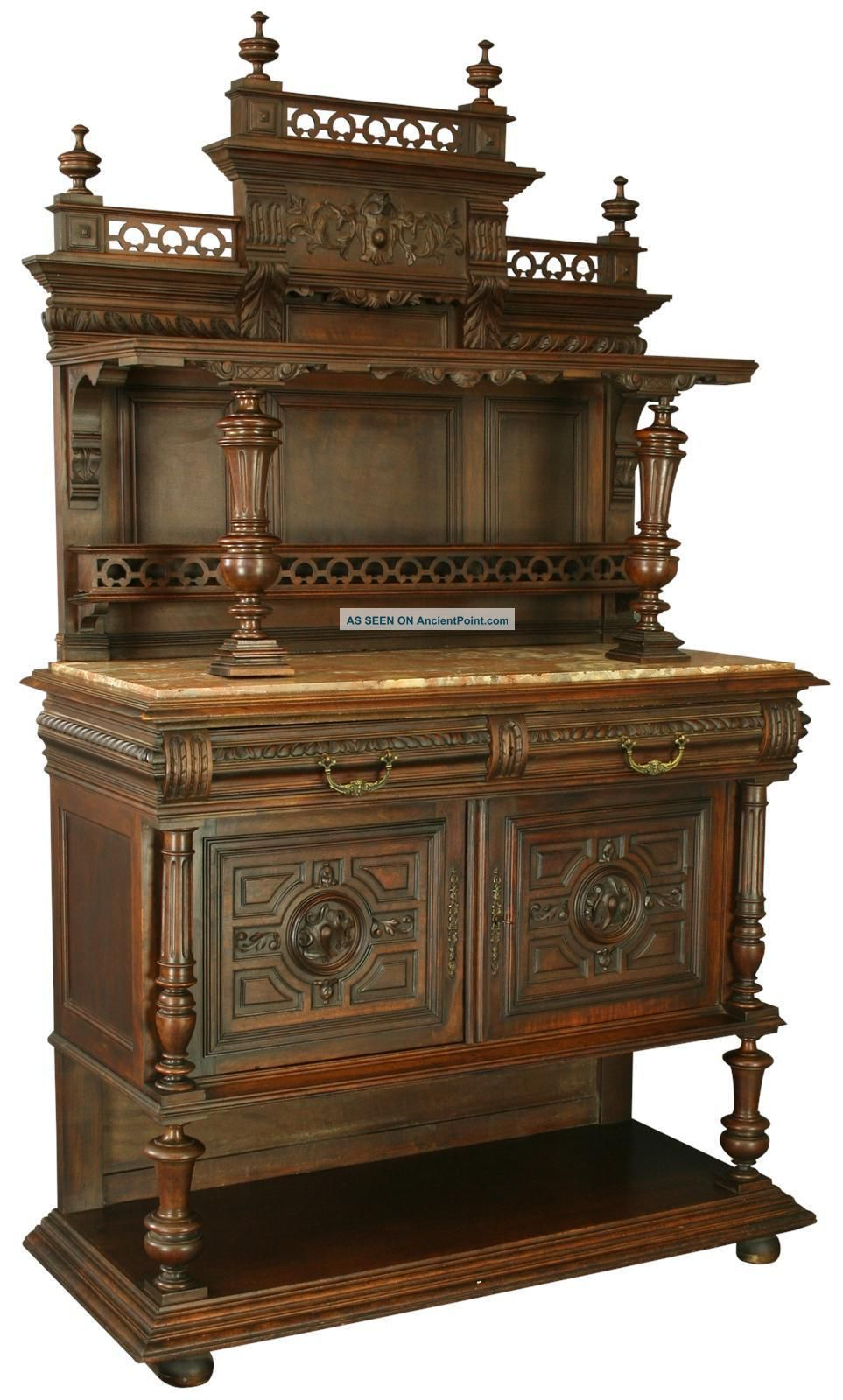 Antique French Renaissance Server/buffet,  Carved Walnut,  Marble Slab Top 1900-1950 photo