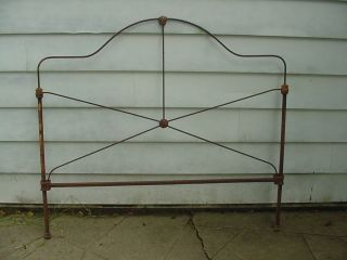 Ornate Antique Wrought Iron Bed Art Nouveau Yard Art Steampunk photo
