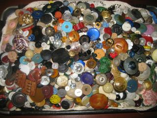 4 +lbs Antique/vintage Buttons Awesome photo