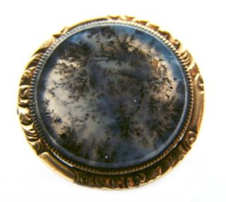 Antique Victorian Engraved Gold Filled Moss Agate Collar Lapel Pin/button photo
