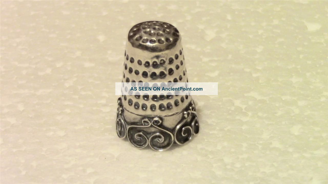 Solid Sterling Silver Thimble Mexico Sewing Collectible Thimbles photo
