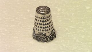 Solid Sterling Silver Thimble Mexico Sewing Collectible photo