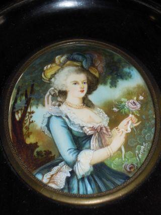 Antic French Watercolor Miniature Portrait Marie - Antoinette By Vigée Lebrun photo
