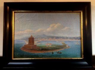 Fantastic Oil On Canvas Of Ajaccio Corsica American Ship Probably Sailor Done photo