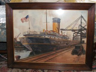 Robert A Herzberg Benson Ford Auto Ship Painting Signed W/coulor Frame photo