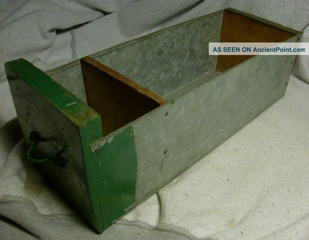 1 Antique Vintage Galvanized & Wood Industrial Factory Decor Drawer Display 2 Other photo