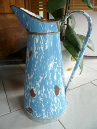 Antique French Shabby Enamelware Body Pitcher In Blue Swirl photo