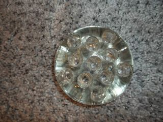 Vintage Glass Flower Frog Clear 11 Holes,  3