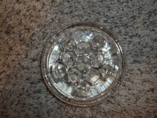 Vintage Glass Flower Frog Clear 11 Holes,  3 5/8