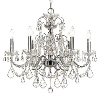 Polished Chrome Crystal Chandelier Accented W/ Swarovski Strass Lead Crystal 24