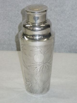 Antique China Export Silver Cocktail Shaker,  Bamboo And Bird photo