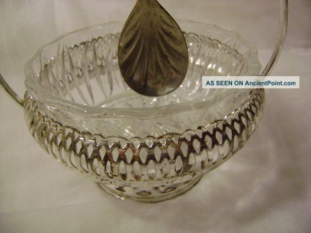 - Serving Glass Dish With Stand/spoon & Made In England:queen Anne Silverplate - Other photo