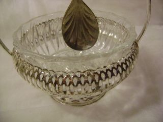 - Serving Glass Dish With Stand/spoon & Made In England:queen Anne Silverplate - photo