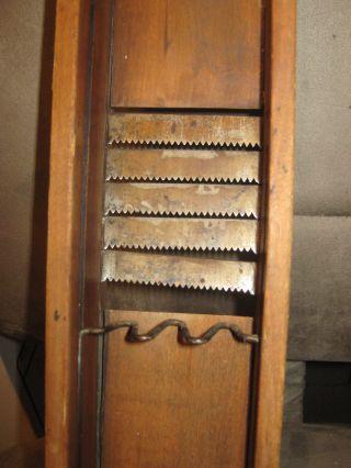 Antique Wood Kitchen Slicer Vegetable Slicer Push Box Blades Patina C: 1800 ' S photo