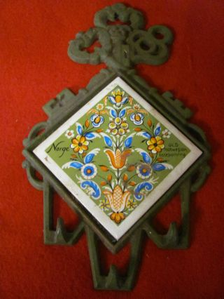 Vintage Norge Farm Trivet - Rose Painted - Cast Iron - photo
