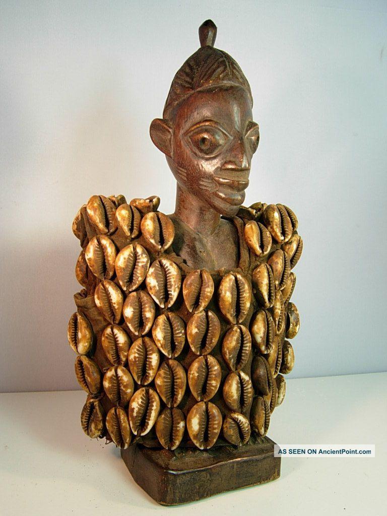 Lot 93,  Ere Ibeji Female Twin With Cowrie Shell Jacket,  Yoruba / Santeria Sculptures & Statues photo