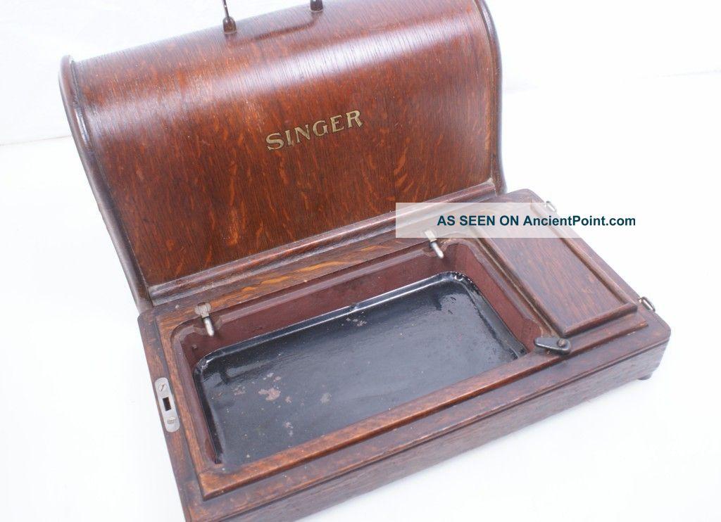 Antique/vintage 1914 Singer Sewing Machine Bent Wood Case Hand Crank 28 128 (k) Sewing Machines photo