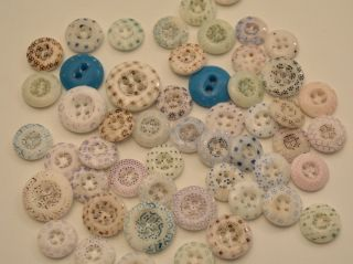 50 Antique Vintage Shabby Faded China Calico Buttons Quilt Craft 7/16