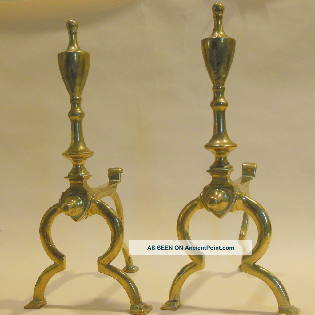Pr.  Of Continental Brass Andirons - Mid To Late 19th C Hearth Ware photo