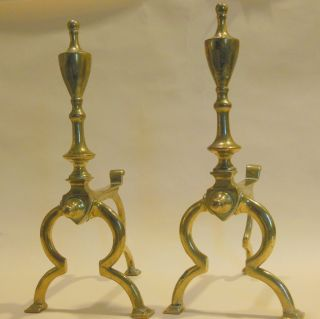 Pr.  Of Continental Brass Andirons - Mid To Late 19th C photo