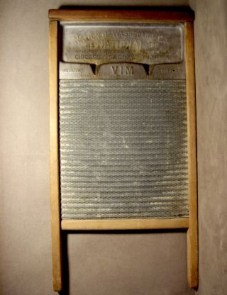 1915 X - National Washboard - Hardwood,  Pressed Tin & Zinc Scrubbing Surface photo