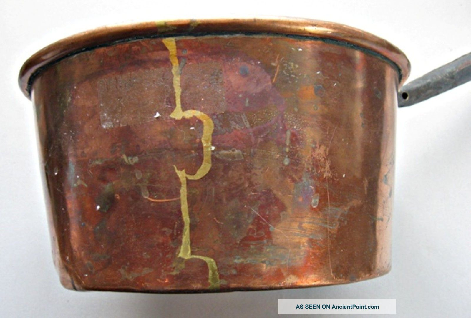 Antique Copper Long Handled Cooking Pot - Dovetailed Construction - Early 1800's Hearth Ware photo
