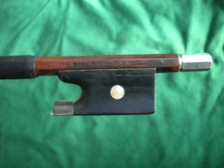 Old/antique Violin Bow Branded W.  E.  Hill&sons Silver/ebony Frog Octagon photo