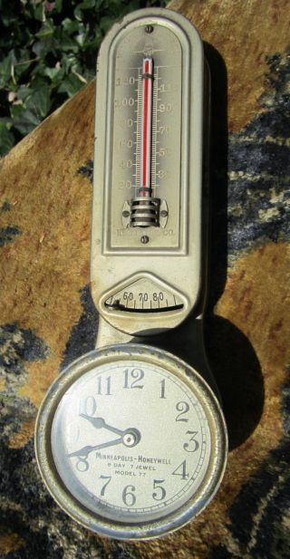 Vintage Deco Honeywell Minneaoplis Heat Regulator Thermostat Clock Model 77 1916 photo