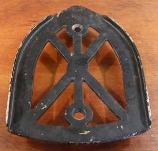 Vintage Cast Sad Iron Trivet Spider Web Pattern photo
