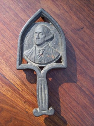 Period 3 Legged 19th C.  Cast Iron Trivet 1876 Centennial George Washington photo