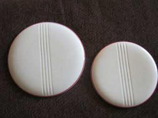 2 Antique Art Deco Off White/red Trimmed Kitchen Collectible Trivets photo