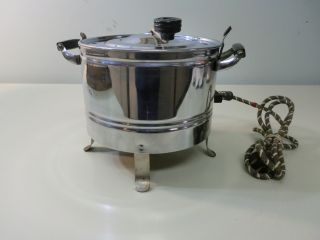 Vintage Challenge Shiny Electric Popcorn Popper W/bakelite Handles Center Stir photo