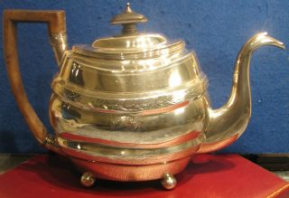 George Iii Georgian Solid Silver Teapot 1803 photo