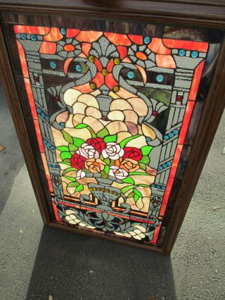 51358 Stained Glass Leaded Window With Jewels In Wood Frame photo