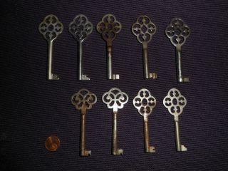 9 Antique Germany Furniture Keys Lot photo
