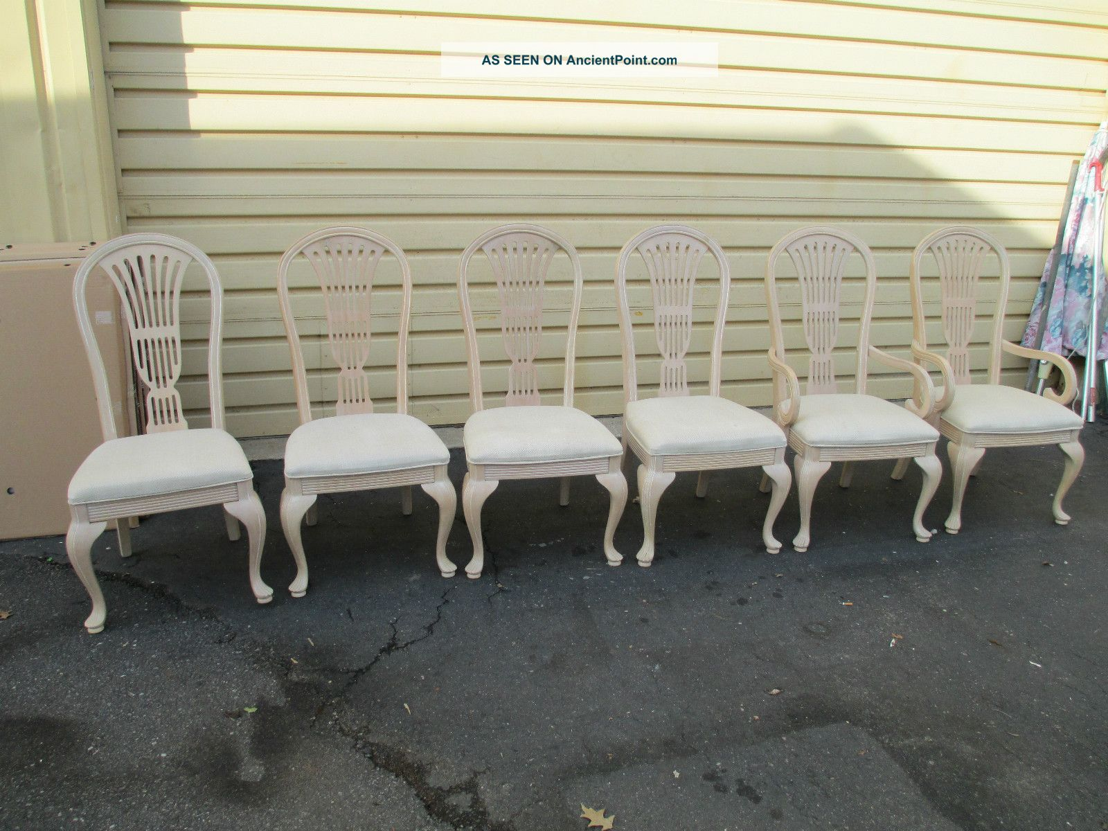 51354 Set 6 Decorator White Wash Dining Room Chairs Chair S Romantic